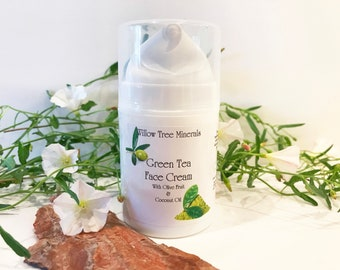 Green Tea Face Cream  - With Olive Fruit and Coconut Oil - 1.7 oz