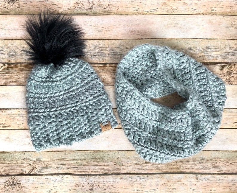 Various colors Oakland Chunky Hat and Cowl Set Pompom Beanie and Scarf Set Womens Christmas Gift Set Warm Winter Fashion