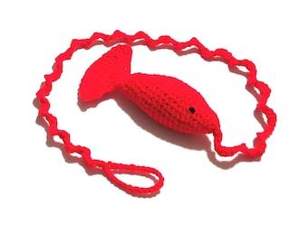Catnip Fantail Crochet Cat Toy on Spirl String