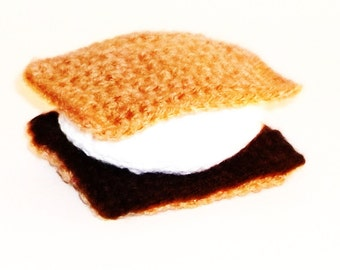 Catnip Cat Toy S'more Campfire  Food Summer Handmade Crochet Pet Supplies Marshmallow Chocolate Graham Cracker
