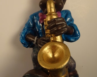 African American figurine, jazz player, black musician, black saxaphone player, vintage figurine, 1990s-2000,