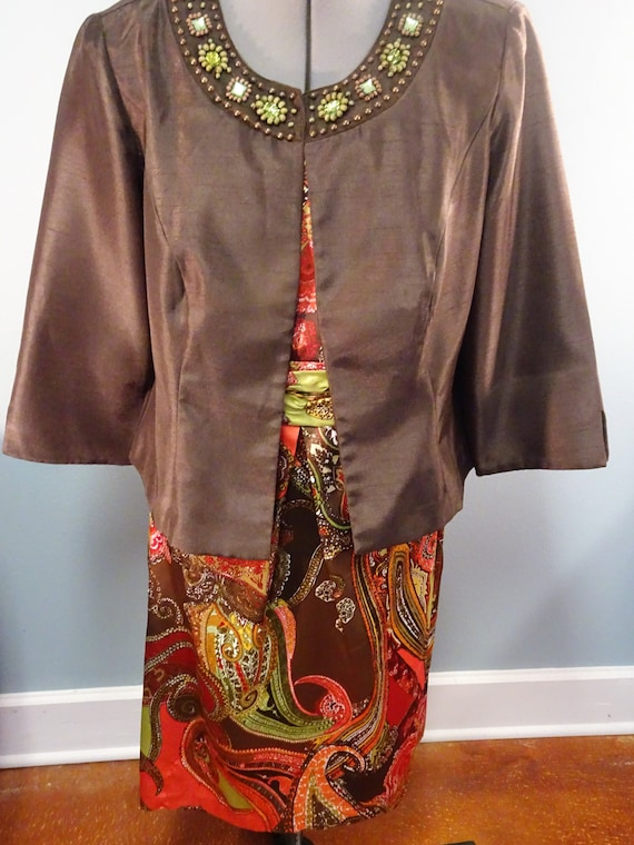 Size 14 dress with jacket, orange, brown and green