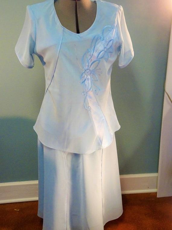 2-piece rayon dress, ice-blue cocktail dress, embr