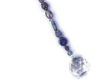 Crystal Sun Catcher 30 mm mittlere Feng Shui Suncatcher hängen hängen Perlen Regenbogen Ornament gedämpft violett und lila Perlen große