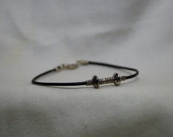 custom made single strand leather and silver beaded bracelet double beads