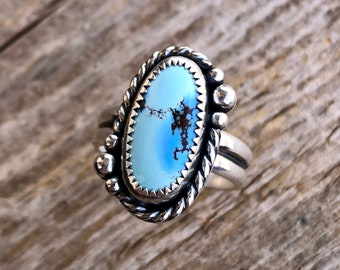 Royston Turquoise Ring Size 4 Sterling Silver Teal Blue Teardrop Stone Gemstone Jewelry December Birthstone Southwest Gift for Her