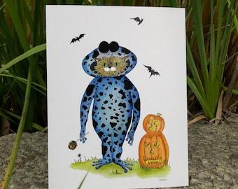 Cat Art Print, Halloween Costumes, Halloween Prints, Illustration, Children's Room, Gift, Ladybug, Frog, Bee, Dinosaur, Ballerina, Chun-Li,