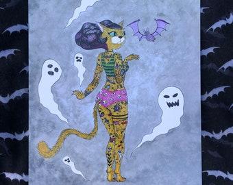 Rockabilly Cat, Pin Up, Cat Art, Rockabilly Stye, Cat Illustration, Halloween, Burlesque, Wall Decor, Kawaii Art, Gift, Home Decor