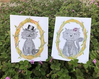 Cat Art Prints, Girl, Fancy Cat, Dark, Creepy Cute, Sad Cat, Wall Art, Home Decor, Kids Art, Childrens Illustration, Gift