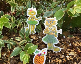 Hawaiian Stickers, Cat Stickers, Glossy Vinyl Stickers, Die Cut, Gifts, Laptop Stickers, Water Bottle Stickers, Kawaii, Fun Gift, Decal