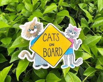 Cat On Board, Cats On Board Stickers, Bumper Sticker