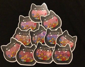 Candy Bowl Sticker, Cat Bowl, Halloween Candy, Cat Sticker, Trick or Treat