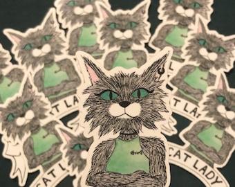 Cat Lady Stickers, Cat Guy, Cat Sticker, Laptop Sticker, Vinyl Decal, Cute Stickers, Animal Sticker, Gift, Gato