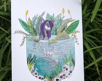 Skeleton Mermaid, ArtPrint, 8x10, Wall Art, Cat Art, Cat Illustration,