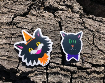 Cat Halloween Stickers, Witch, Vintage Halloween, Laptop Stickers, Cute Stickers
