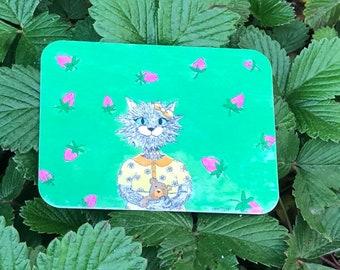 Cat Sticker, Kawaii Cat Sticker, Vintage, Laptop Sticker, Gift, Neko, Strawberry Sticker