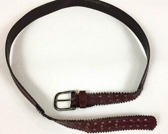 70's burgundy leather Yves Saint Laurent belt 1970's tooled eyelet slim dark red designer YSL belt / large / 33 34 35 / oxblood / wine