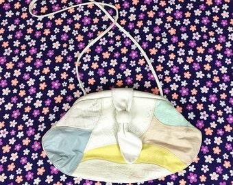 80's large white leather pastel patchwork purse 1980's soft slouchy big crossbody shoulder bag / Tropical / Alligator Snake embossed / 15x8