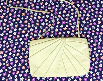 80's cream leather nude beige purse 1980's wide rectangle flat shoulder bag long strap purse / Origami / Folded / Sunset / Neutral 8.5 x 13
