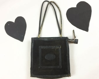 70's black suede leather purse 1970's hippie boho distressed shoulder bag / zipper top / square / tote / Woodstock / Folk / 10 x 10 / medium