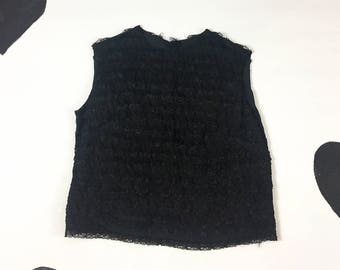 1960's black lace ruffle cropped shirt 60's dolly frothy ruffled lacy ribbon button back sleeveless crop top shirt / Twiggy girly goth S XS