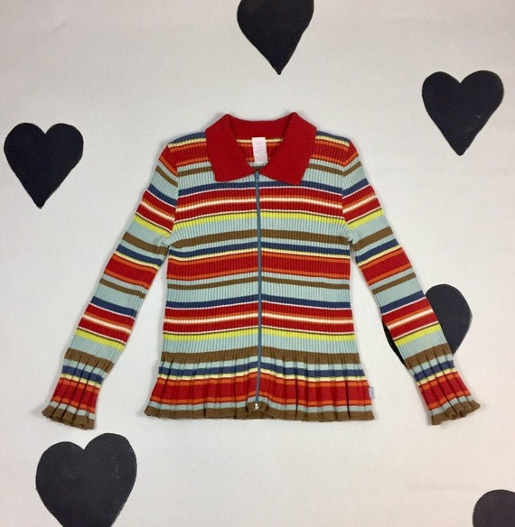 90's Oilily collorful striped ribbed knit zip up s