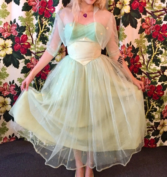 50's tulle net party prom dress 1950's atomic mint
