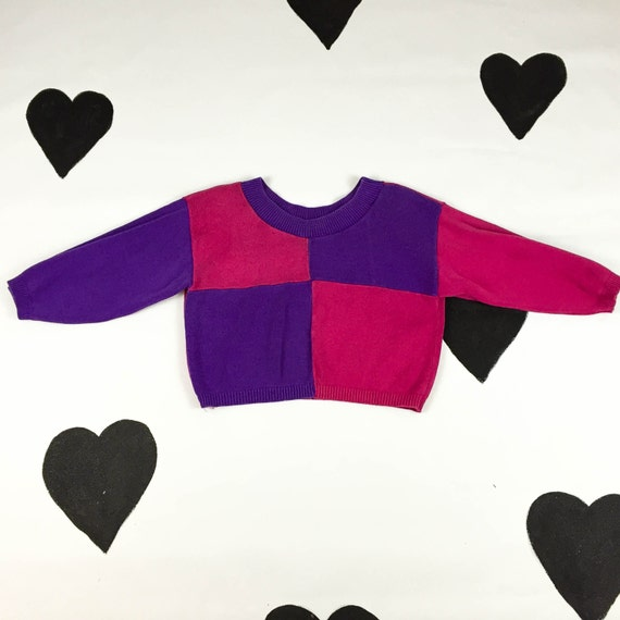 90af1d1dcb 80 s 90 s cropped colorblock knit crop top 1980 s