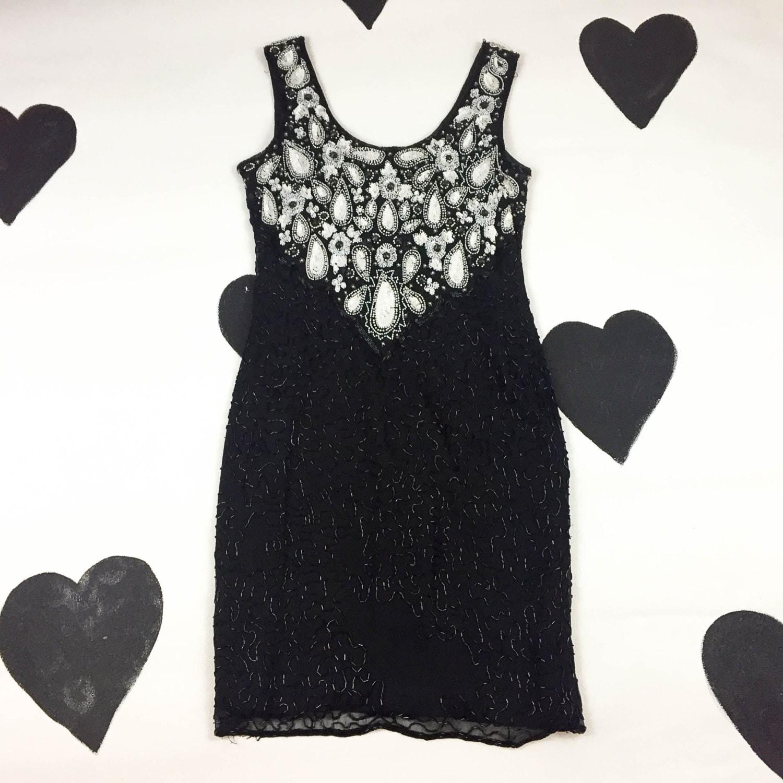 2803177ea5 80 s 90 s bodycon beaded sequin dress 1990 s black
