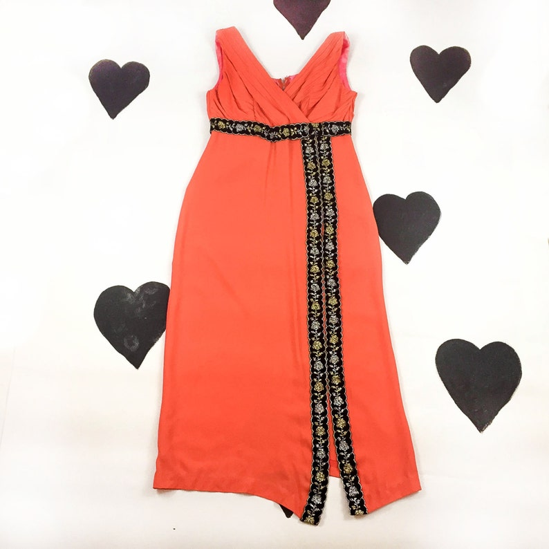 77992554 60's orange black silver gold evening gown party dress   Etsy