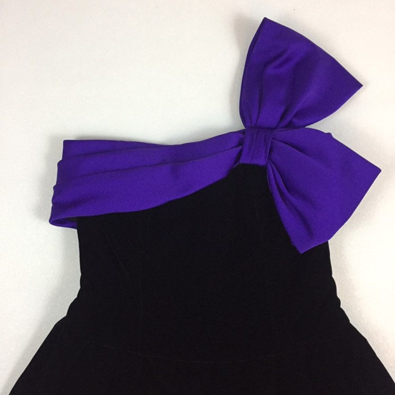 1980/'s big bow velvet bubble prom dress 80/'s one shoulder avant garde new wave origami side bow corset tulle goth party dress A.J BARI 8