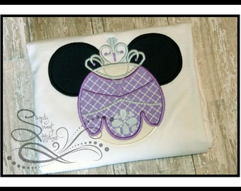 Purple Princess Mouse Head Applique with Free Monogramming