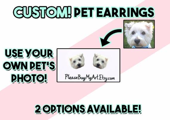UK Pet in your ear West Highland White Terrier Earrings.Photojewelry.Handmade