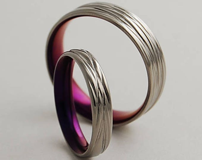 Sphinx Bands in Mystic Purple with Comfort Fit Interiors , Titanium Rings , Wedding Bands , Promise Rings