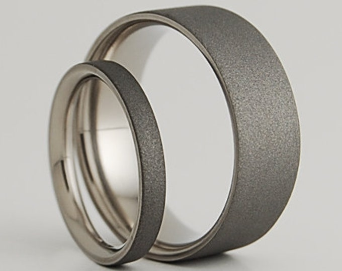 Wedding Band Set , Titanium Rings , Wedding Bands , Aphrodite and Apollo Bands with Comfort Fit interiors and Sandblasted exteriors