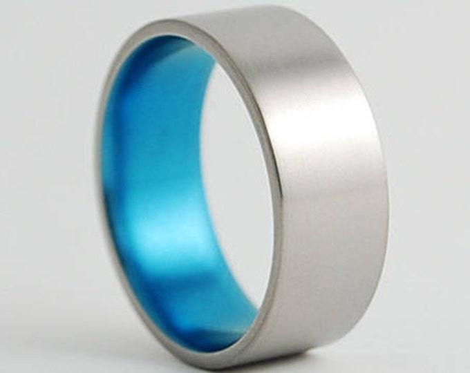 Apollo Band in Sky Blue , Titanium Ring , Wedding Band , Promise Ring