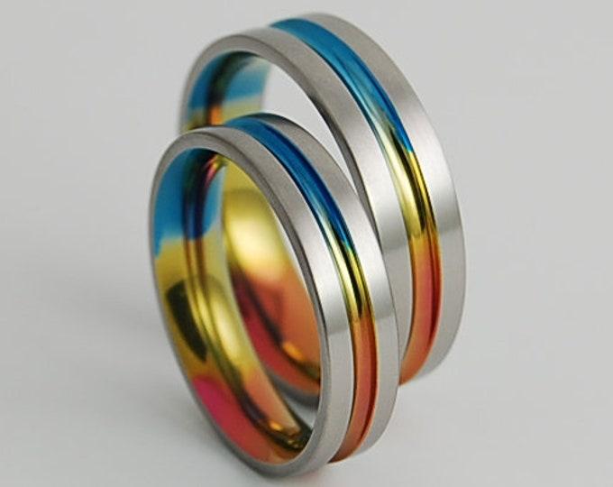 Wedding Band Set , Wedding Ring Set , Titanium Ring Set , Titanium Rings , Wedding Bands , Promise Rings , His and Hers , Wedding Rings