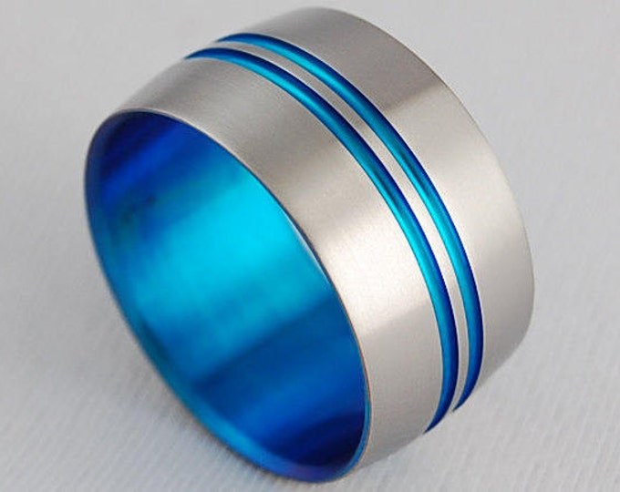 Odyssey Band in New Beginning Blue , Titanium Ring , Wedding Band , Promise Ring