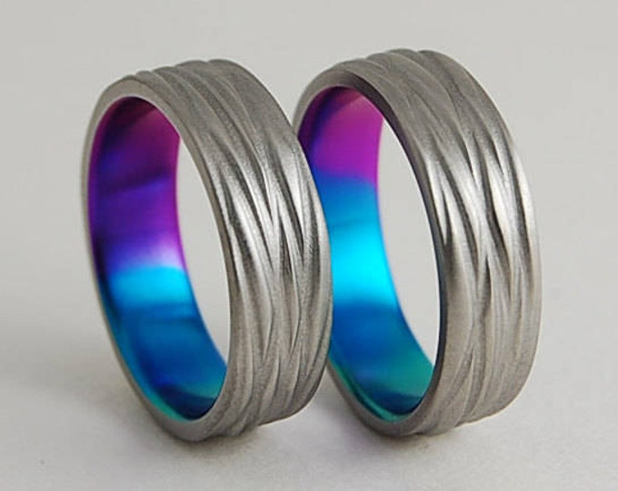 Sphinx Bands in Sunset Purple , New Beginning Blue and Immortal Green , Wedding Bands , Titanium Wedding Band Set , Titanium Rings