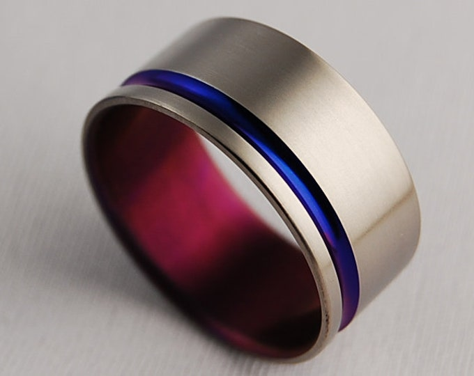 Atlas Band in Nightfall Blue and Purple Wine , Titanium Ring , Wedding Band , Promise Ring