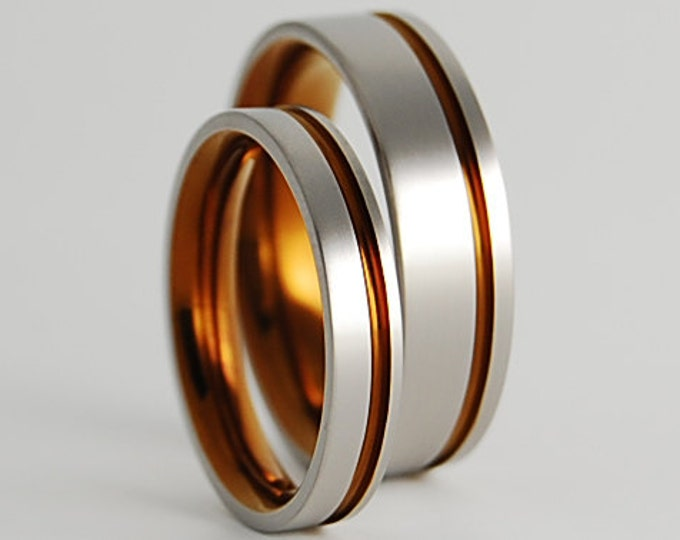 Cosmos Bands in Bronze with Comfort Fit Interiors , Titanium Rings , Wedding Bands , Promise Rings