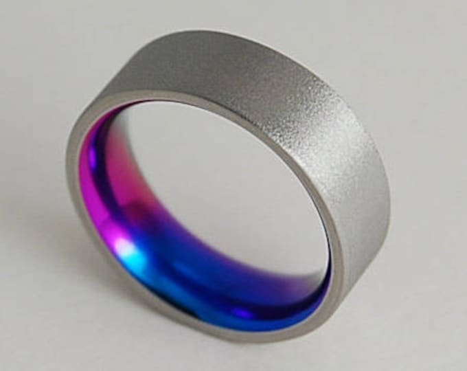 Apollo Band in Sunset Purple, New Beginning Blue with Comfort Fit Interior , Titanium Ring , Wedding Band , Promise Ring
