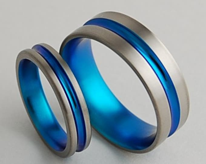 Dionysus Bands in New Beginning Blue , Titanium Rings , Wedding Bands , Promise Rings