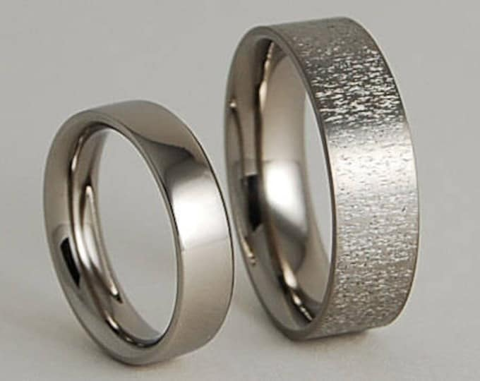 Apollo and Acropolis Bands with Comfort Fit Interiors , Titanium Rings , Wedding Bands , Promise Rings