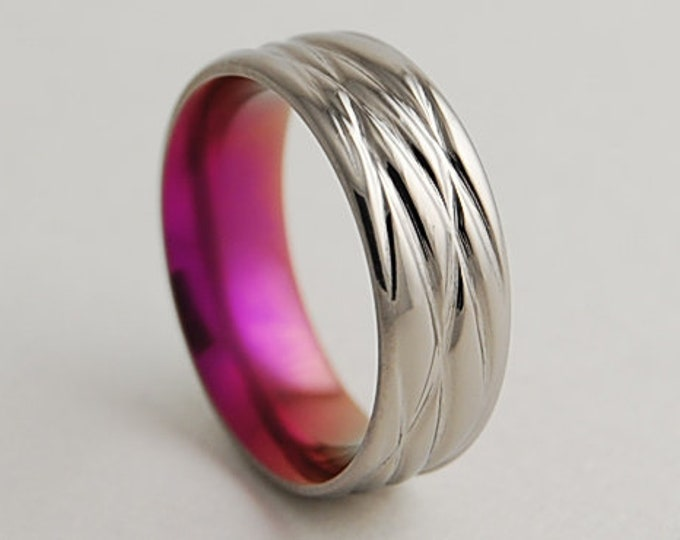 Sphinx in Passion Pink with Comfort Fit Interior , Titanium Ring , Wedding Band , Promise Ring