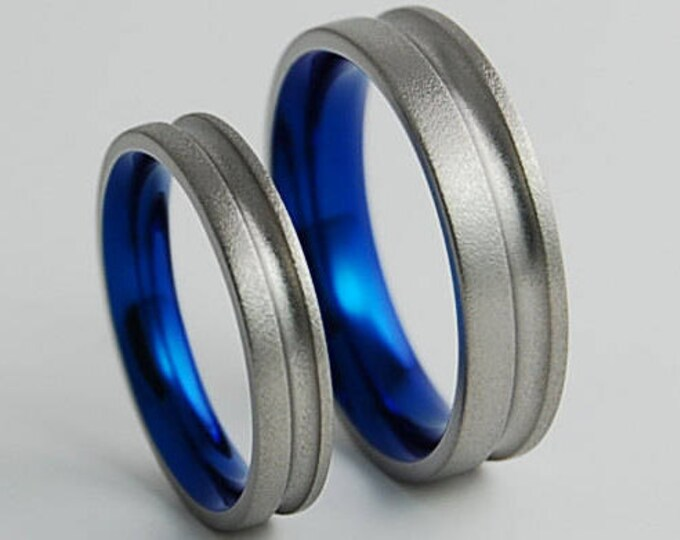 Cosmos Bands in Nightfall Blue , Titanium Rings , Wedding Bands , Promise Rings