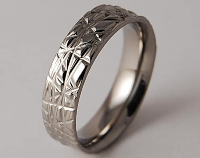 Order in Chaos Band with Comfort Fit Interior , Titanium Ring, Wedding Band, Promise Ring, Friendship Ring, Commitment Band