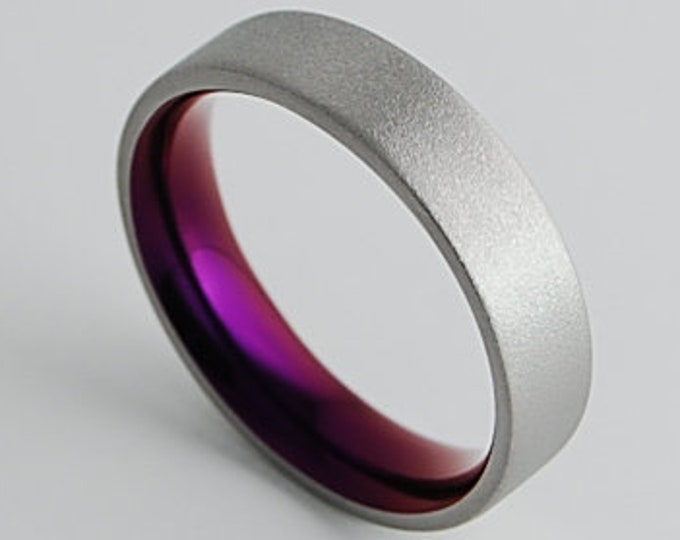 Apollo Band in Mystic Purple with Comfort Fit , Titanium Ring , Wedding Band , Promise Ring