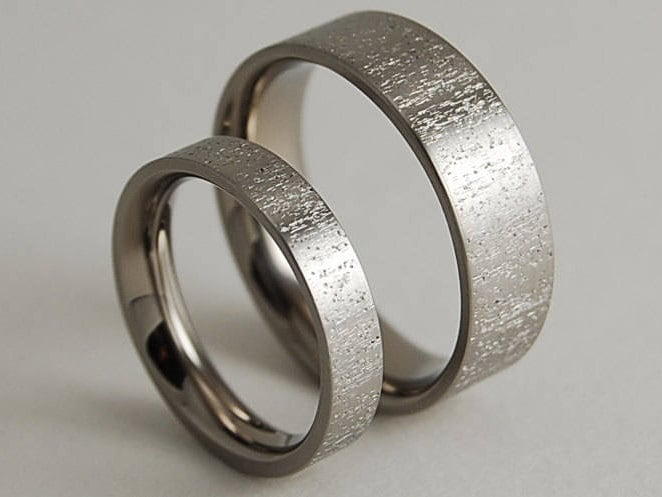 Wedding Band Set Titanium Ring Set Wedding Ring Set His And