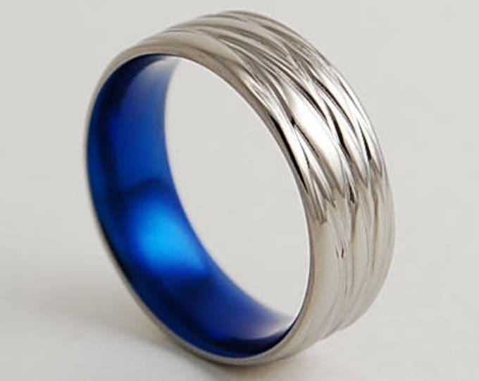 Sphinx Band in Nightfall Blue , Titanium Ring , Wedding Band , Promise Ring